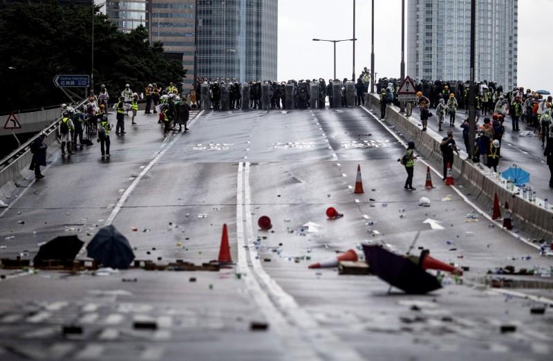 香港831一夜警民激戰。(彭博)