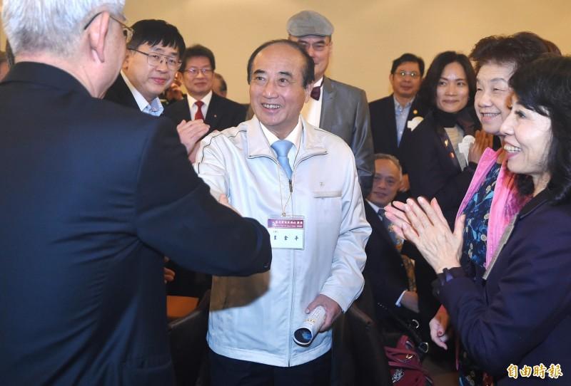 前立法院長、國民黨立委王金平日今天應邀到台北士林扶輪社例會演講。(記者廖振輝攝)