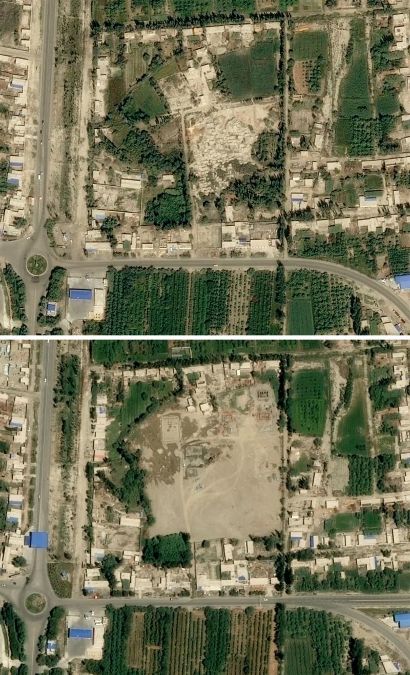 被夷平的維吾爾墓地。上圖為2017年8月29日所攝,下圖為今年7月5日。(法新社)
