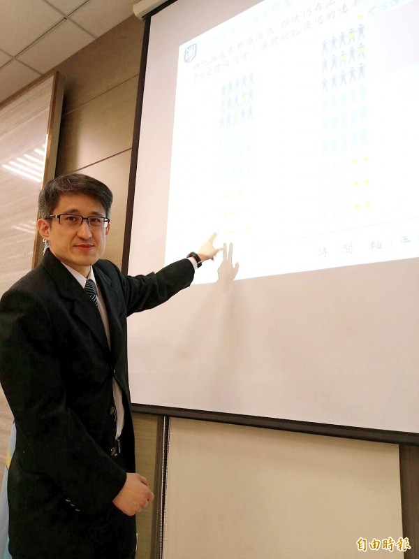 National Health Research Institutes assistant investigator and attending physician Wu I-chien points to a graph showing the results of research into glycated hemoglobin at a news conference in Taipei yesterday. Photo: Wu Liang-yi, Taipei Times