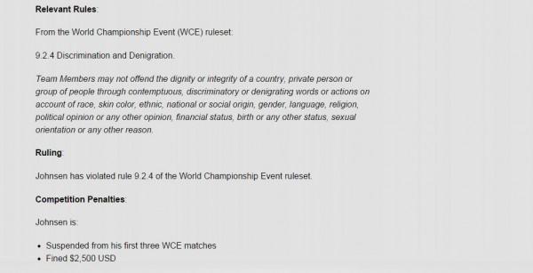 LOL遊戲公司Riot今宣布,將對Svenskeren處以約新台幣7萬5300的罰款,以及世界冠軍賽前3場禁賽。(擷自lolesports.com)