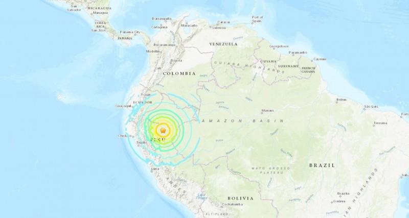祕魯北部地區在台灣時間今(26日)下午3點41分發生規模8.0強震。(圖擷取自USGS)