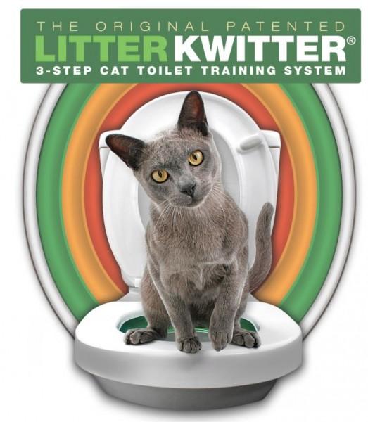 這項產品名叫Litter Kwitter,由3個大小不一的塑膠圈組成,號稱能使貓咪輕鬆學會用馬桶。(圖擷取自METRO)