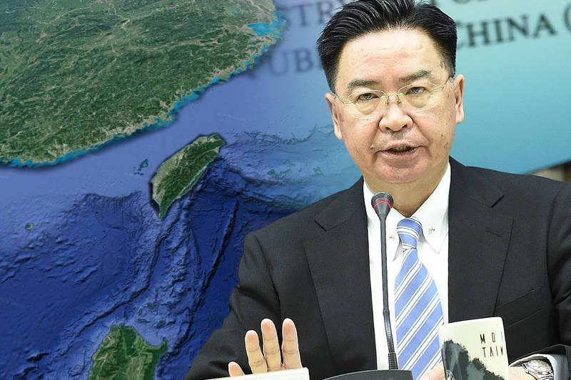 外交部長吳釗燮今親自出面譴責中國外交部,「一如港版國安法摧毀一國兩制,中國對海峽中線的做法等於摧毀台海現狀」。(本報合成)