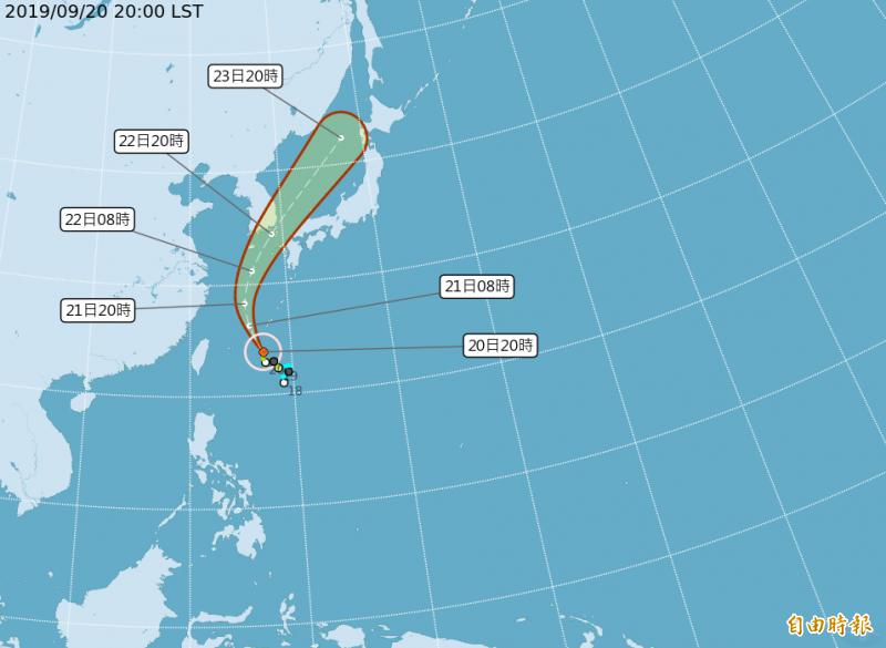 「塔巴」颱風路徑潛勢預測圖。(截取自中央氣象局網站)
