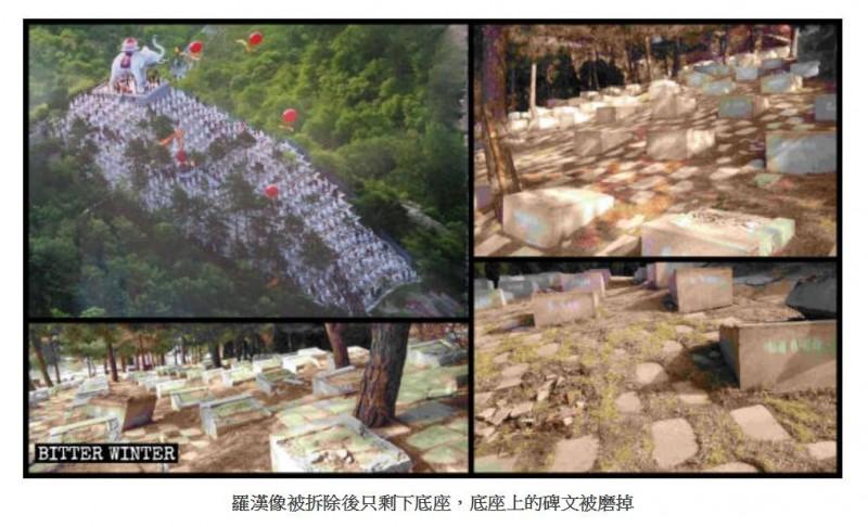 中共拆毀佛像的行徑已上升為意識形態的鬥爭,且剷除佛像的理由堪稱「荒唐」。左上為原貌。(圖擷取自《寒冬》)
