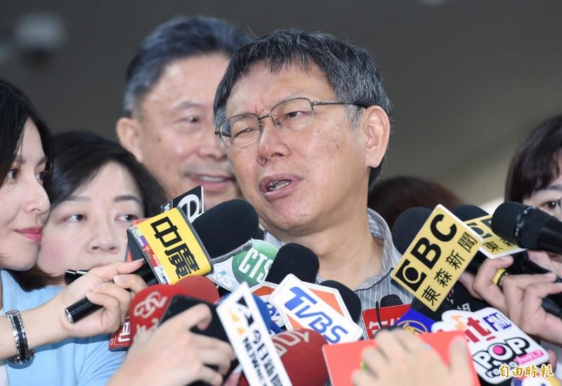 柯文哲說,八二三砲戰是重要戰役,讓台灣維持穩定至今,市府每年固定辦活動,兵役局發請帖給人家,人家來參加,我們當然表示樂觀其成。(記者廖振輝攝)