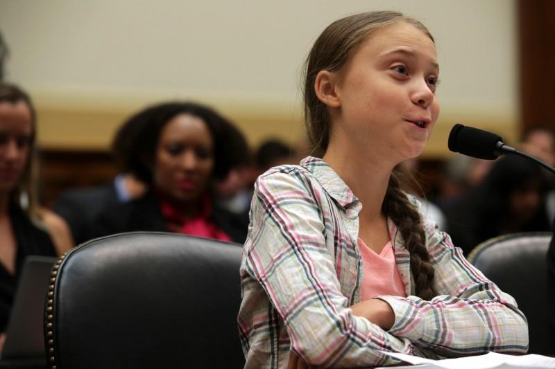 瑞典16歲少女桑柏格在美國國會聽證會上作證發言。(資料照,法新社)