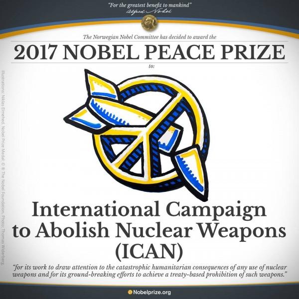 2017諾貝爾和平獎在台灣時間6日下午5點左右揭曉,本次由國際廢除核武運動獲獎。(圖擷自Nobel Prize臉書)