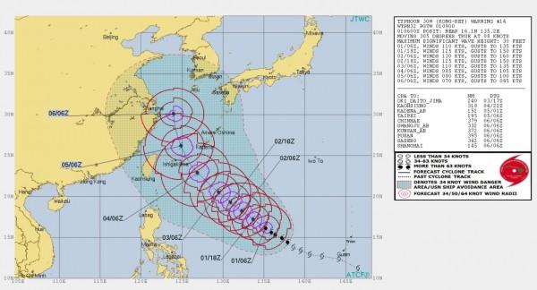美軍聯合颱風警報中心推估未來康芮颱風的路徑。(圖擷取自JTWC)
