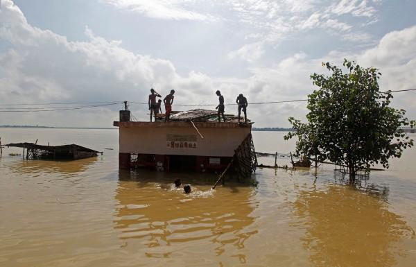 印度近日因遭逢連日暴雨,釀成嚴重災情,許多民眾及動物都被迫遷移,甚至傳出一頭大象被洪水沖離邊境。(路透)