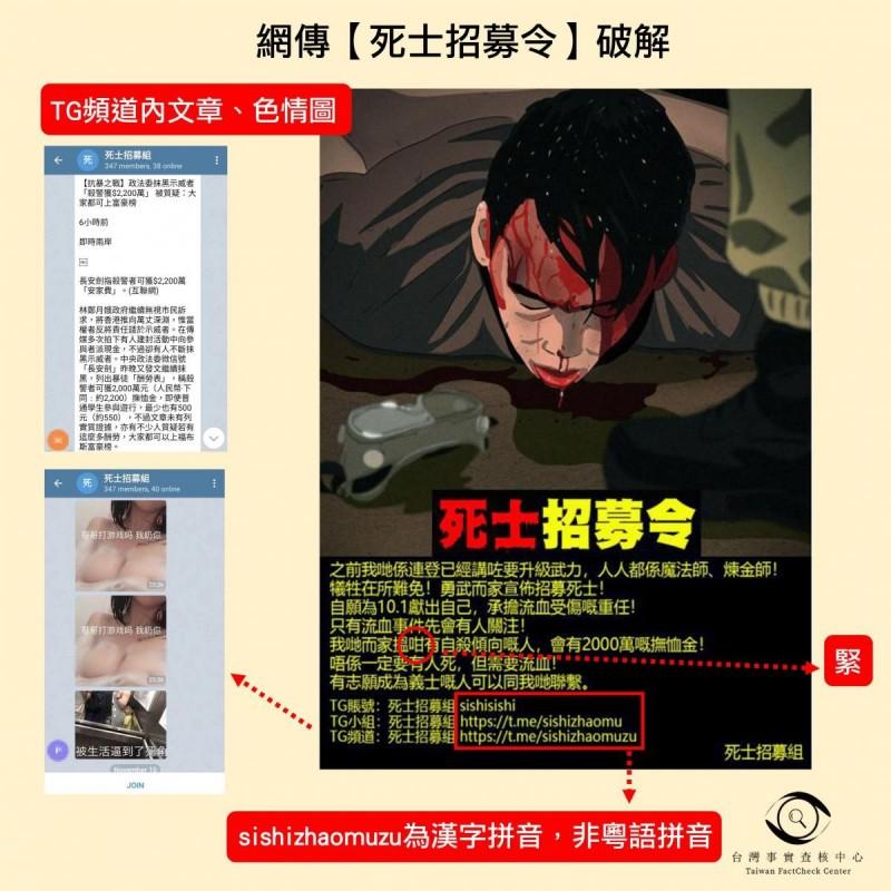 查核中心製圖破解「死亡招募令」文宣圖。(擷取自台灣事實查核中心)
