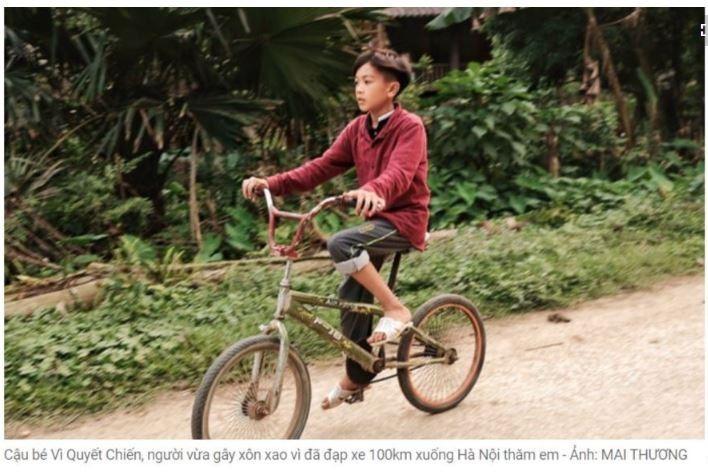 台中日友當舖分享國際新聞-偉決戰與他當時騎的腳踏車。(圖擷自 VOA Tiếng Việt)