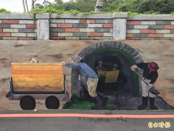 中國陝西煤礦發生坍塌,21人遭活埋。圖為台灣早期運煤的壁畫。(資料照)