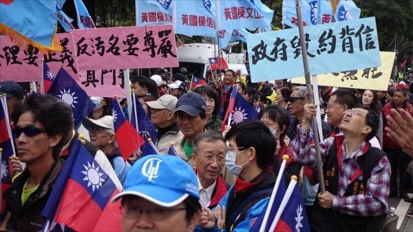 軍改上路後,曾引退伍軍人上街抗議。(資料照)