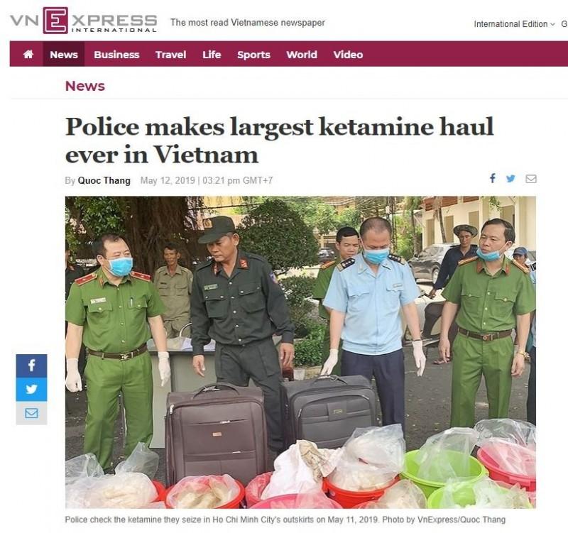越南警方週六(11日)在胡志明市郊區查獲約500公斤毒品K他命販運案件。(圖擷取自越南快訊網)