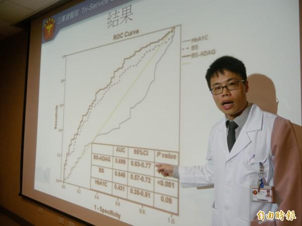 三總研究團隊發現,「血糖間隙」數值對評估糖尿病患者的肺炎的程度有極高相關性。三總急診部醫師陳伯銓說,從結果來看,高血糖間隙和肺炎的嚴重程度有密切相關。(記者吳亮儀攝)