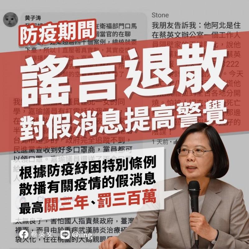 蔡總統今(26)日晚間發出警告,散播疫情假消息者最高可關3年、罰300萬。(圖取自臉書)