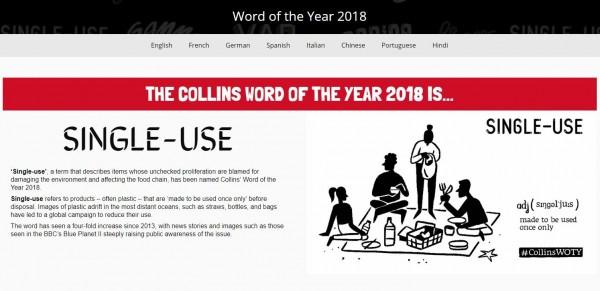 英語權威字典《柯林斯英語詞典》今(7)日公布2018年度代表字,為「一次性使用」(Single-use)。(圖擷取字《柯林斯英語詞典》網站)