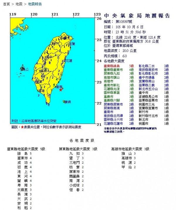東部海域發生規模6.0地震,不少台東市民在感到搖晃同時,也收到警訊通知。(圖擷取自中央氣象局)