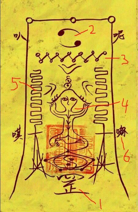 有專家從符的構成中看《還願》遊戲畫面中一張符咒的意思,得到完全不同的解讀。(圖擷取自張竣崴臉書)