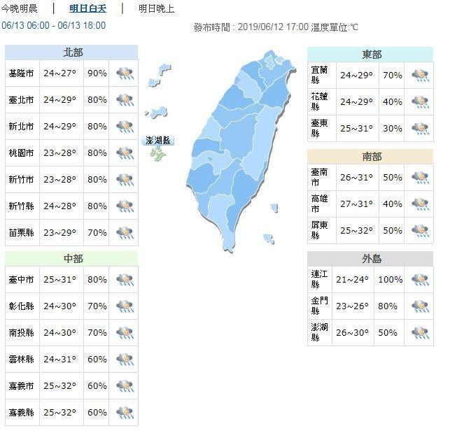 明天(13日)同樣受到鋒面影響,全台有雨,尤其中部以北地區及南部山區白天出現陣雨或雷雨的機率偏高。(圖擷取自中央氣象局)