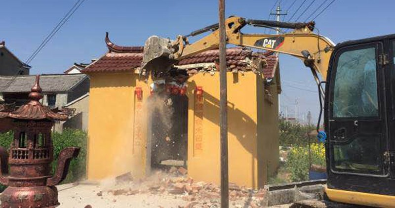 江蘇高郵市用26天拆毁近6千座土地廟。(圖擷取自高郵市政府網站)