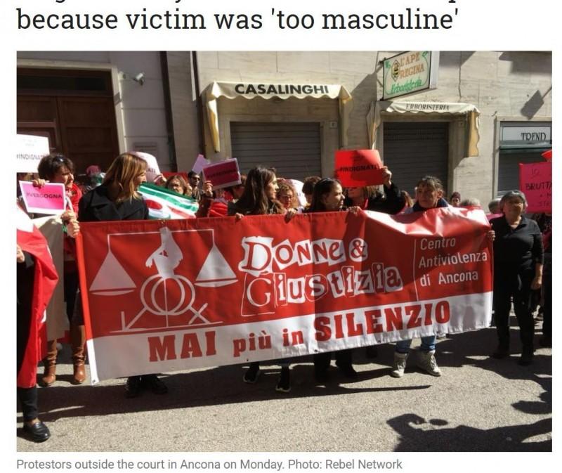 有位秘魯籍女子於2015年在義大利遭2名同鄉男子輪暴,雖然事後這2位惡狼被法院宣判性侵罪成立,但高等法院卻以受害人「長的太陽剛,不可能被人盯上性侵」為由改判無罪,引起義國社會譁然。(圖擷取自《The Local Italy》)