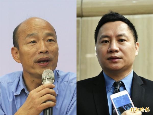 高雄市長韓國瑜自稱赴哈佛大學「演說」,被中國民運人士王丹踢爆根本是「閉門座談」,王丹因此與高雄市政府隔空互槓。(資料照,本報合成)