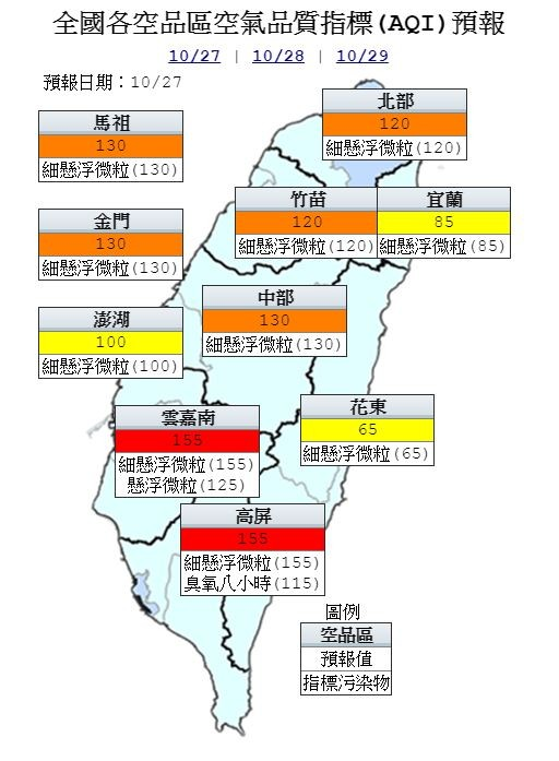 明天受東北季風挾帶境外污染物及地表揚塵現象影響,雲嘉南及高屏為「紅色警示」等級,建議民眾外出可戴口罩。(圖擷取自行政院環保署)