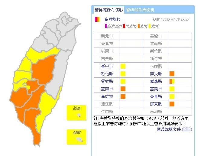 中央氣象局今(19)日19點25分,對全台10縣市續發豪、大雨特報。(擷取自中央氣象局)
