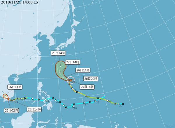 萬宜颱風(右)及天兔颱風(左)的路徑圖。(圖擷取自中央氣象局)