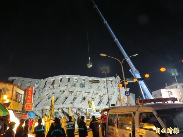 維冠大樓在206地震中倒塌。(資料照,記者蔡文居攝)