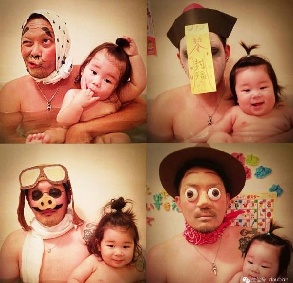 看到照片中女兒開心的萌樣,爸爸這麼辛苦也值得了。(照片擷自微博)