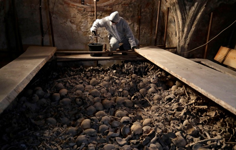一名修復專家在整理中世紀的骨骸,以致力保存藏骨堂。(路透)