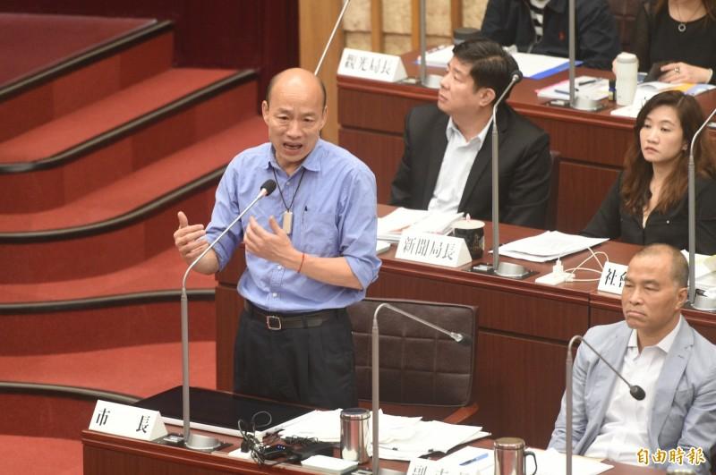 高雄市長韓國瑜指須3~4千億元另建一座高雄國際機場。(記者張忠義攝)