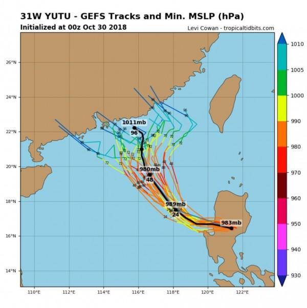 全球預報路徑都顯示,玉兔將侵襲中國東南沿海。(圖擷取自tropicaltidbits)