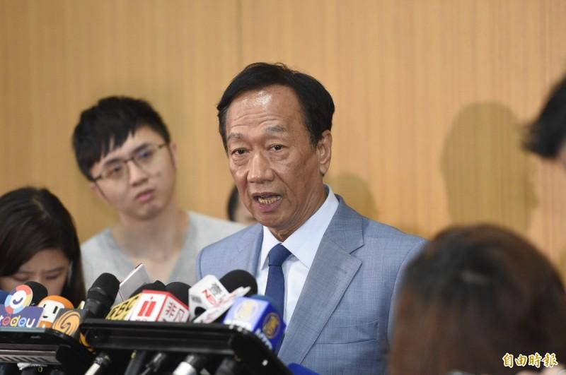 國民黨召開總統選舉參加提名初選同志座談會,郭台銘會後離去並接受媒體訪問。(記者叢昌瑾攝)