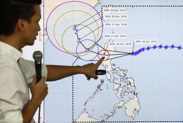 菲律賓官方認為,玉兔颱風橫掃完菲律賓後,會往中國方向前進。(歐新社)