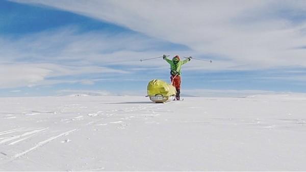 奧布雷迪在沒有補給資源、不靠任何協助的情況下,獨走完橫越南極1500公里路程。(美聯社)