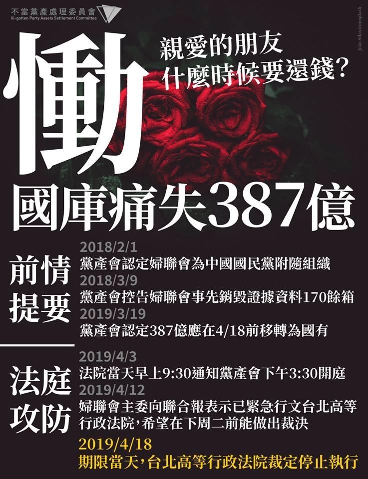 針對台北高等行政法院裁定停止執行,黨產會強調會提出抗告,繼續為大家追討387億。(圖擷取自臉書粉專「不當黨產處理委員會」)