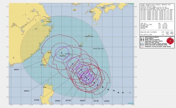 美軍聯合颱風警報中心推估未來潭美颱風的路徑。(圖擷取自JTWC)