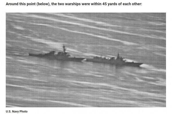 由美國海軍所發布的照片顯示,美中兩艦上月的發生的不正常相距,幾乎看不到間隙。(圖擷自《gCaptain》)