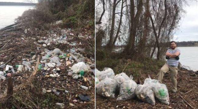 挑戰者要在附近找一塊需要清裡的區域,然後將該區的垃圾清乾淨。(圖擷自推特)