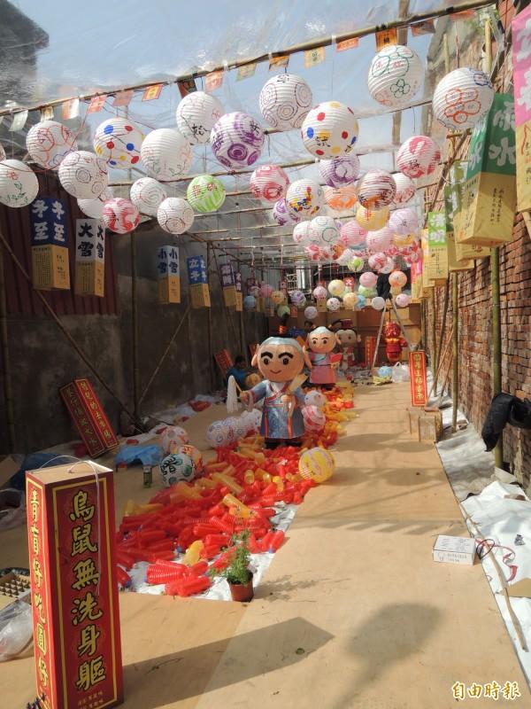 台灣燈會北港燈區每個角落都可發現驚奇。(記者陳燦坤攝)