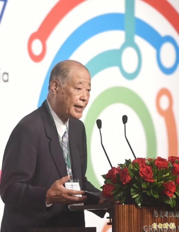 曾任日本防衛廳長官及農林水產大臣的玉澤德一郎出席「玉山論壇」第二天議程。(記者方賓照攝)