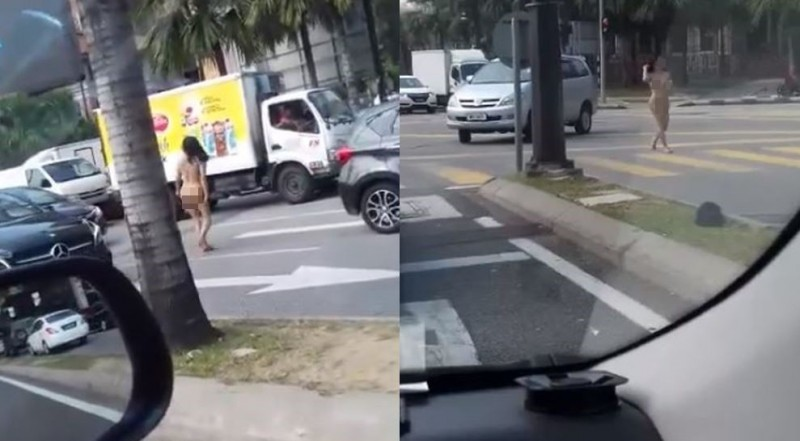 1名菲律賓女子裸體大鬧街頭,警方將他強制送醫。(圖擷取自影片)