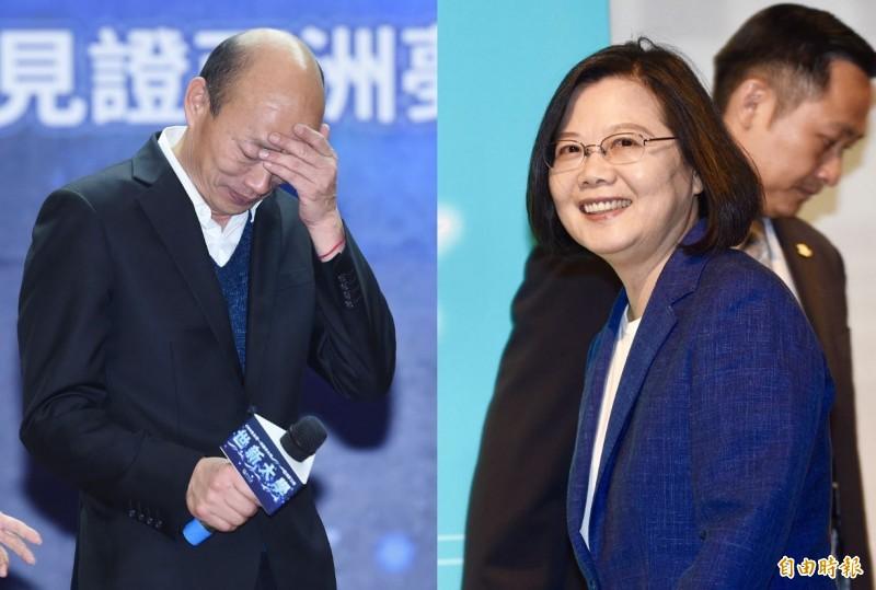 韓國瑜的支持度已經下探至34.7%,落後蔡英文超過10個百分點。(資料照,本報合成)