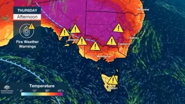 澳洲氣象局指出,明天西雪梨的氣溫將達到最高峰,恐飆至45度。(圖擷取自澳洲氣象局推特)