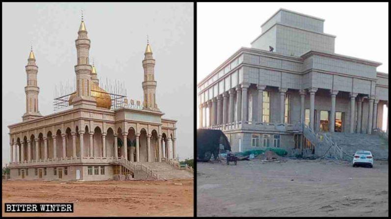 中國陝西省定邊縣1座清真寺頂端的月牙、洋蔥頭式尖頂及塔式建築全遭拆除,甚至原本桃形的門窗都被改為方形。(圖擷取自《寒冬》雜誌)